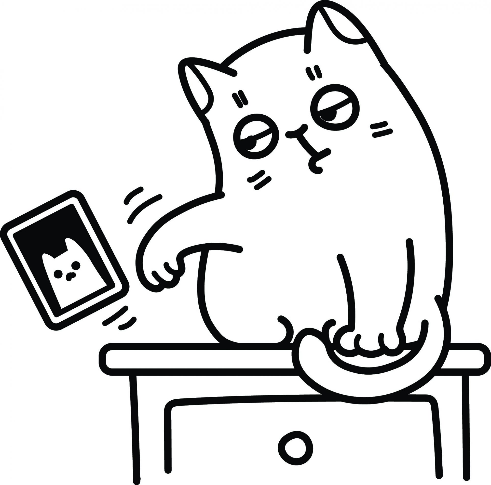 A cartoon of a cat knocking a photo off a desk.